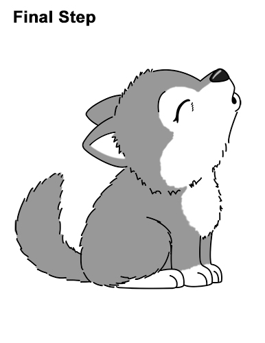 How to Draw Cute Little Cartoon Wolf Pup Cub Howling