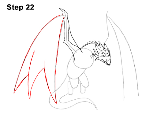 How to Draw Wyvern Dragon Wings Flying 22