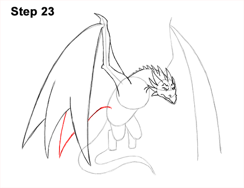 How to Draw Wyvern Dragon Wings Flying 23