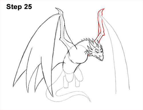 How to Draw Wyvern Dragon Wings Flying 25
