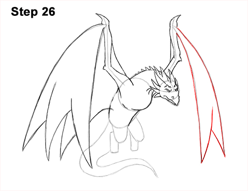 How to Draw Wyvern Dragon Wings Flying 26