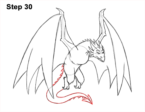 How to Draw Wyvern Dragon Wings Flying 30