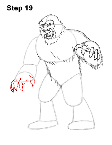 How to Draw a Yeti Abominable Snowman Monster 19