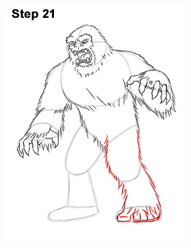 How to Draw a Yeti Abominable Snowman Monster 21