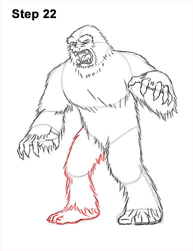 How to Draw a Yeti Abominable Snowman Monster 22