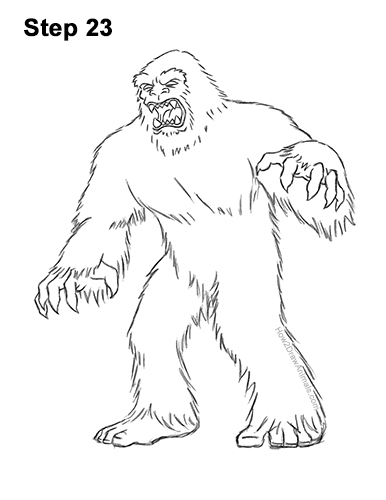How to Draw a Yeti Abominable Snowman Monster 23