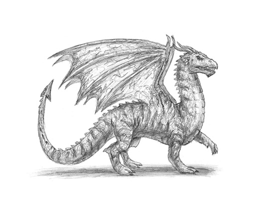 How to Draw a Medieval Dragon Side Wings